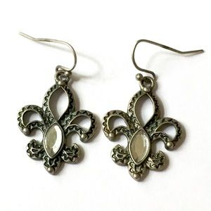 Fleur De Lis Silver Dangle Earrings